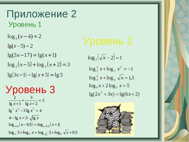 Приложение 2 Уровень 1 Уровень 2 Уровень 3