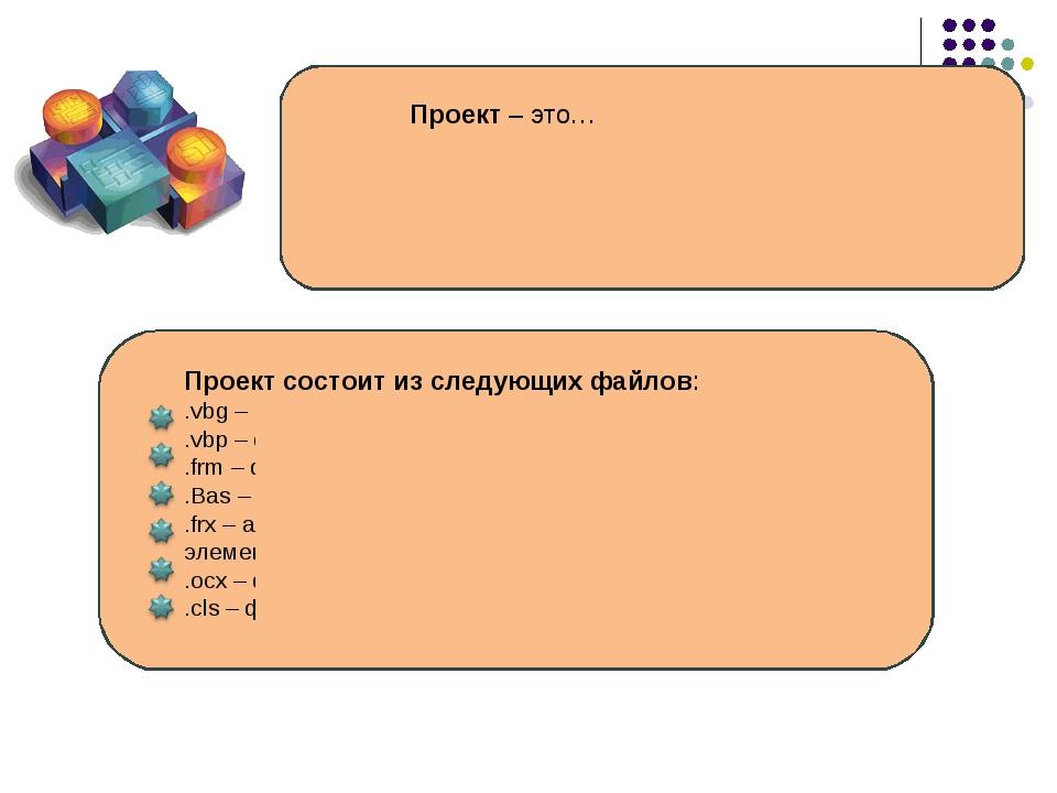 Проект – это… группа всех файлов, которые составляют программу, включая формы...