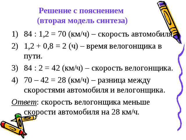 Решение с пояснением (вторая модель синтеза) 84 : 1,2 = 70 (км/ч) – скорость...