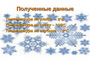 Полученные данные Температура на улице – Температура на снегу – Температура н