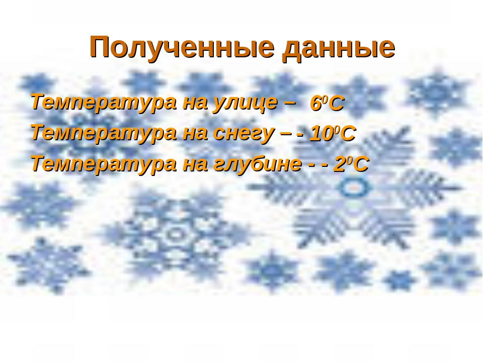 Полученные данные Температура на улице – Температура на снегу – Температура н...