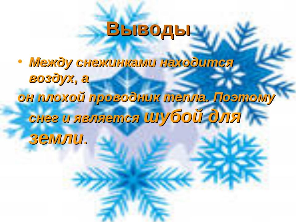 Выводы Между снежинками находится воздух, а он плохой проводник тепла. Поэтом...
