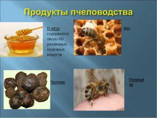 В мёде содержится около 60 различных полезных веществ Воск. Прополис Пчелиный