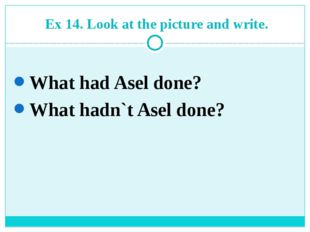 Ex 14. Look at the picture and write. What had Asel done? What hadn`t Asel