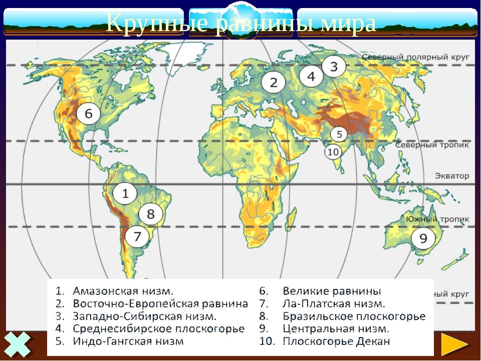 Крупные равнины мира