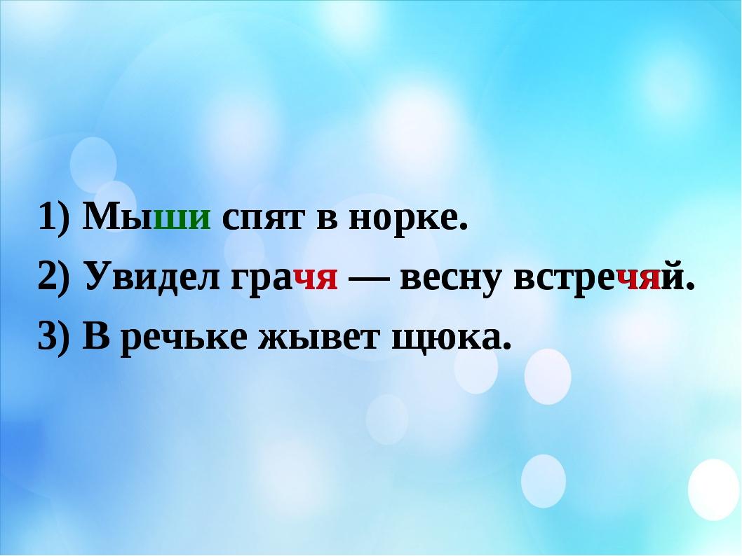 1) Мыши спят в норке. 2) Увидел грачя — весну встречяй. 3) В речьке жывет щю...