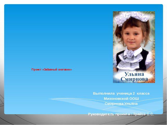 Проект «Забавный снеговик» Выполнила ученица 2 класса Мизоновской ООШ Смирно...