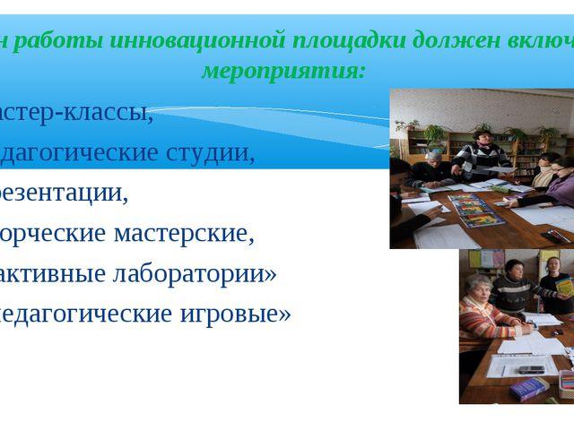 План работы инновационной площадки должен включать мероприятия: мастер-классы...