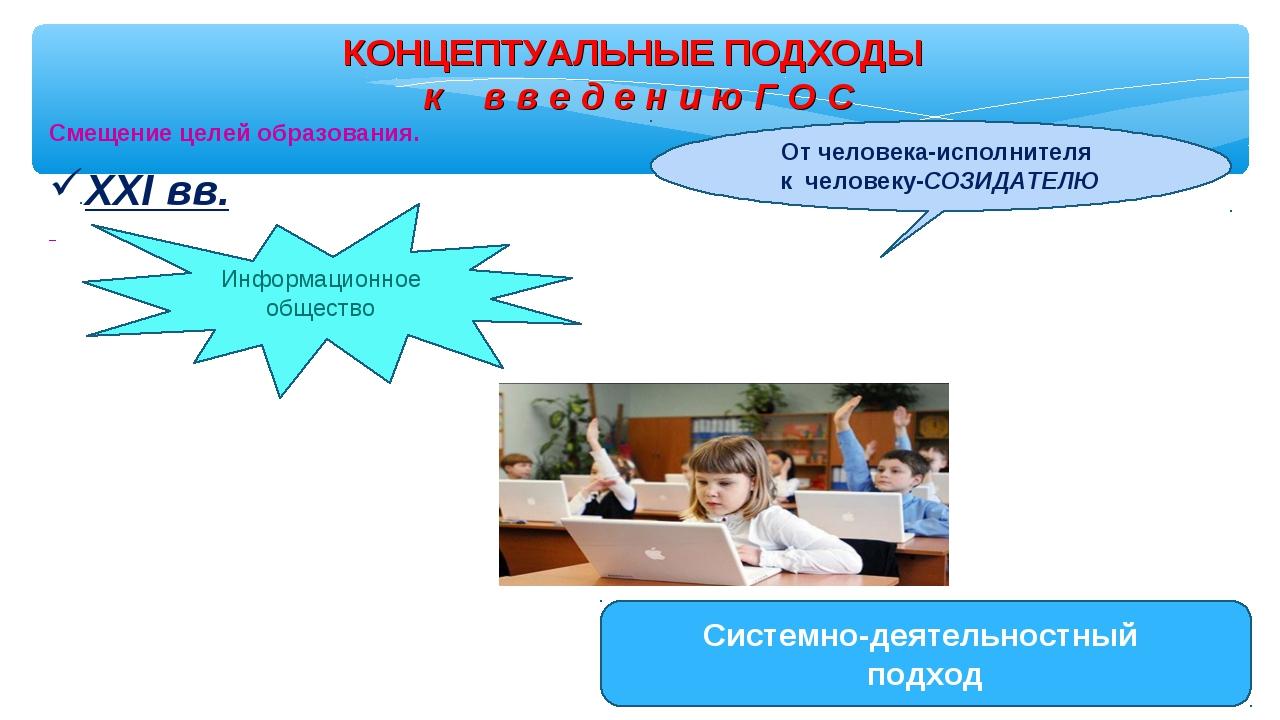 КОНЦЕПТУАЛЬНЫЕ ПОДХОДЫ к в в е д е н и ю Г О С Смещение целей образования. Ин...
