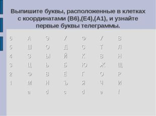 Выпишите буквы, расположенные в клетках с координатами (В6),(Е4),(А1), и узна
