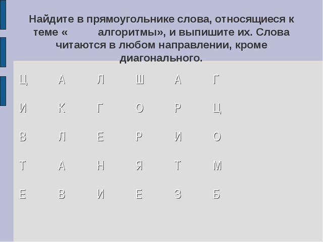 Найдите в прямоугольнике слова, относящиеся к теме «алгоритмы», и выпишите и...
