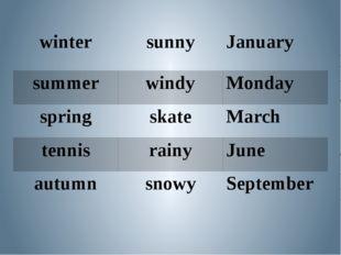 winter sunny January summer windy Monday spring skate March tennis rainy June