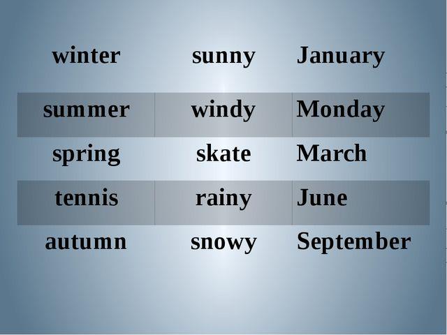 winter sunny January summer windy Monday spring skate March tennis rainy June...