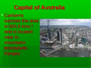 Capital of Australia Canberra borrows the area in 805,6 kms ² and is located