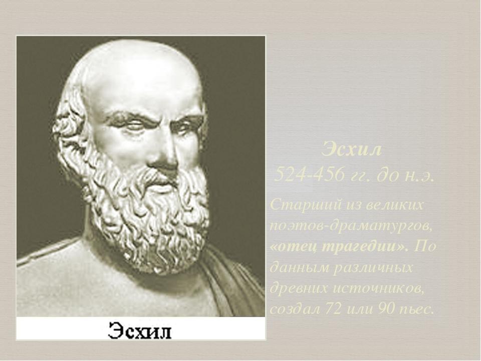 Эсхил 524-456 гг. до н.э. Старший из великих поэтов-драматургов, «отец трагед...