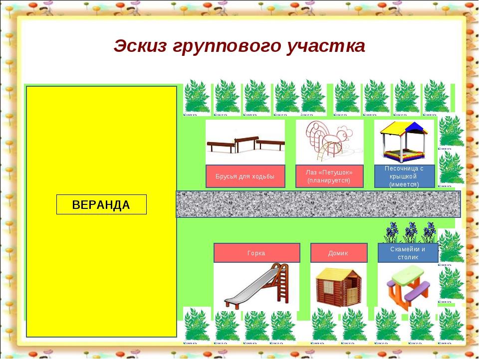 Эскиз группового участка ВЕРАНДА Брусья для ходьбы Лаз «Петушок» (планируется...