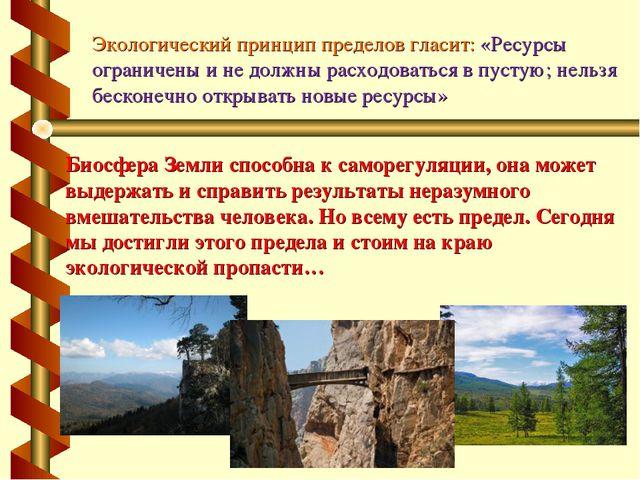 Экологический принцип пределов гласит: «Ресурсы ограничены и не должны расход...