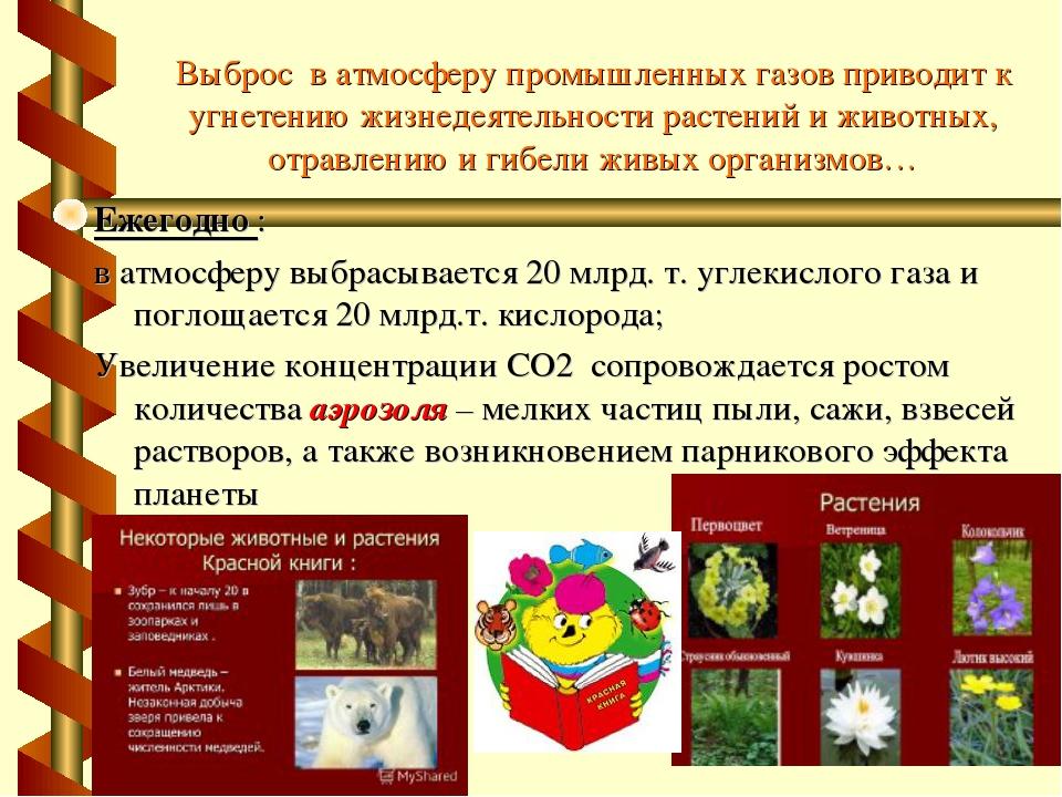 Выброс в атмосферу промышленных газов приводит к угнетению жизнедеятельности...