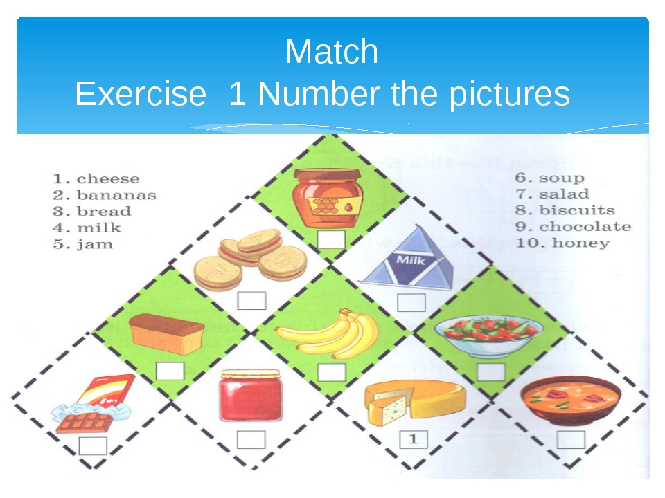 Match Exercise 1 Number the pictures