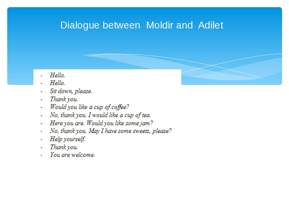 Dialogue between Moldir and Adilet