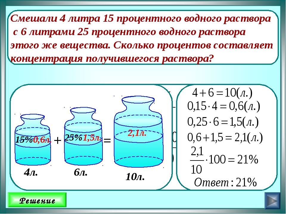Препарат/вода) количество эм-препарата, необходимое для приготовления раствора заданной концентрации