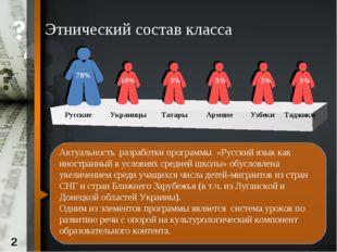 Этнический состав класса Актуальность разработки программы «Русский язык как
