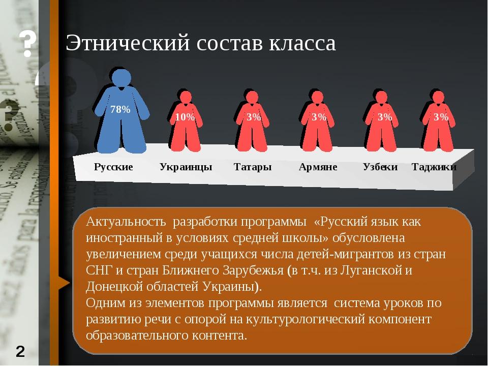 Этнический состав класса Актуальность разработки программы «Русский язык как...