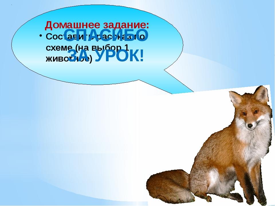 Домашнее задание: Составить рассказ по схеме (на выбор 1 животное) СПАСИБО ЗА...