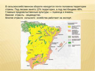 В сельскохозяйственном обороте находится почти половина территории страны. По