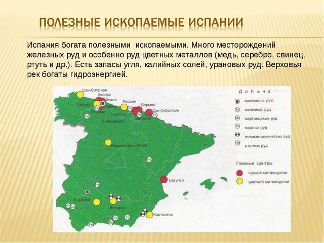 Испания богата полезными ископаемыми. Много месторождений железных руд и особ...