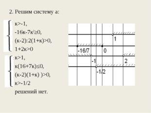 2. Решим систему а: к>-1, -16к-7к2≥0, (к-2):2(1+к)>0, 1+2к>0 к>1, к(16+