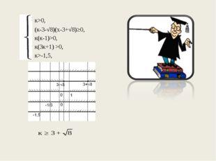 к>0, (к-3-√8)(х-3+√8)≥0, к(к-1)>0, к(3к+1) >0, к>-1,5,