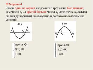 Теорема 4 Чтобы один из корней квадратного трёхчлена был меньше, чем число х0