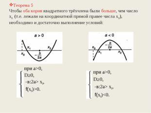 Теорема 5 Чтобы оба корня квадратного трёхчлена были больше, чем число х0 (т.