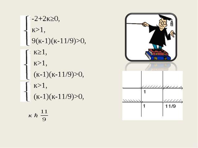 -2+2к≥0, к>1, 9(к-1)(к-11/9)>0,  к≥1,  к>1,  (к-1)(к-11/9)>0,...