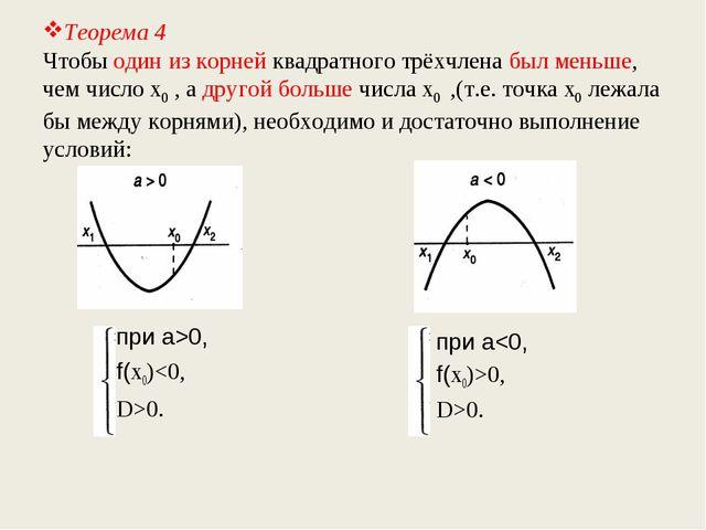 Теорема 4 Чтобы один из корней квадратного трёхчлена был меньше, чем число х0...