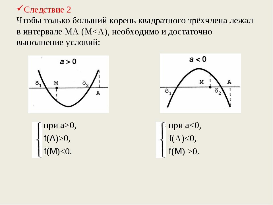 Следствие 2 Чтобы только больший корень квадратного трёхчлена лежал в интерва...