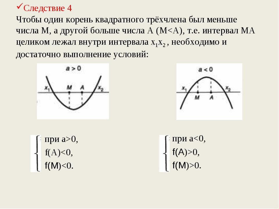 Следствие 4 Чтобы один корень квадратного трёхчлена был меньше числа М, а дру...