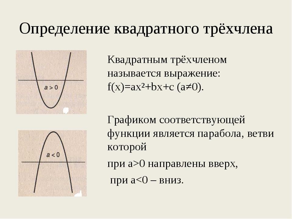 Определение квадратного трёхчлена Квадратным трёхчленом называется выражение...