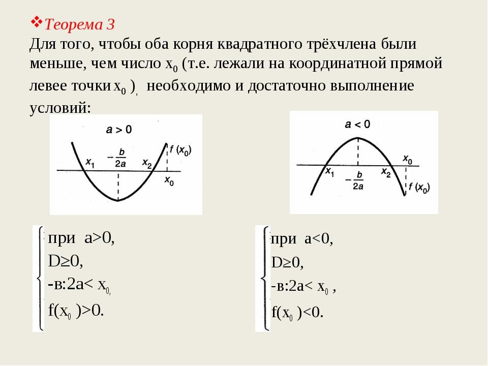 Теорема 3 Для того, чтобы оба корня квадратного трёхчлена были меньше, чем чи...