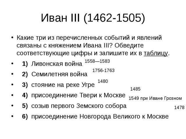 Иван III (1462-1505) Какие три из перечисленных событий и явлений связаны с к...