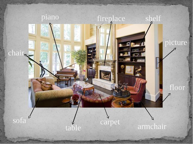 sofa armchair table shelf piano picture fireplace chair floor carpet