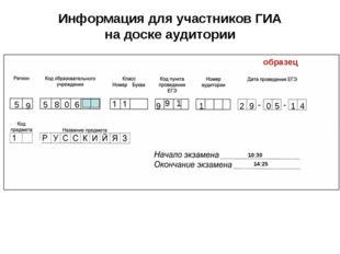 Информация для участников ГИА на доске аудитории 5 10:30 14:25 9 9 1 1 2 9 0