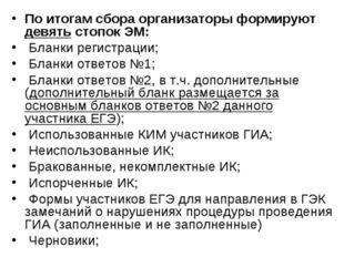 По итогам сбора организаторы формируют девять стопок ЭМ: Бланки регистрации;