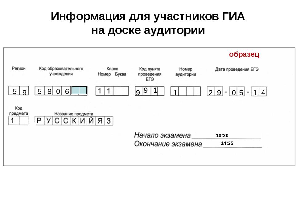 Информация для участников ГИА на доске аудитории 5 10:30 14:25 9 9 1 1 2 9 0...