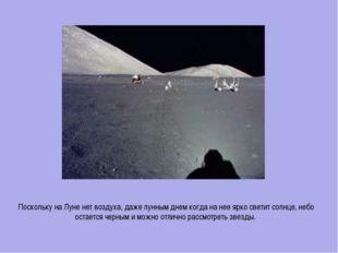 Поскольку на Луне нет воздуха, даже лунным днем когда на нее ярко светит солн
