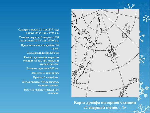 Карта дрейфа полярной станции «Северный полюс – 1» Станция открыта 21 мая 193...