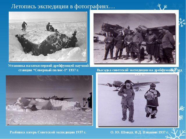 Летопись экспедиции в фотографиях… О. Ю. Шмидт, И.Д. Папанин 1937 г. Высадка...