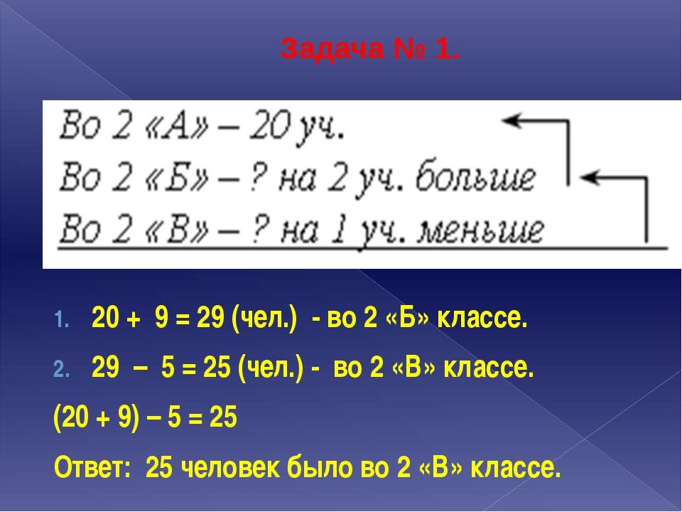Задача № 1. 20 + 9 = 29 (чел.) - во 2 «Б» классе. 29 – 5 = 25 (чел.) - во 2 «...