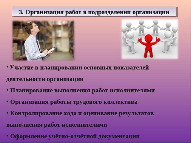3. Организация работ в подразделении организации Участие в планировании основ...
